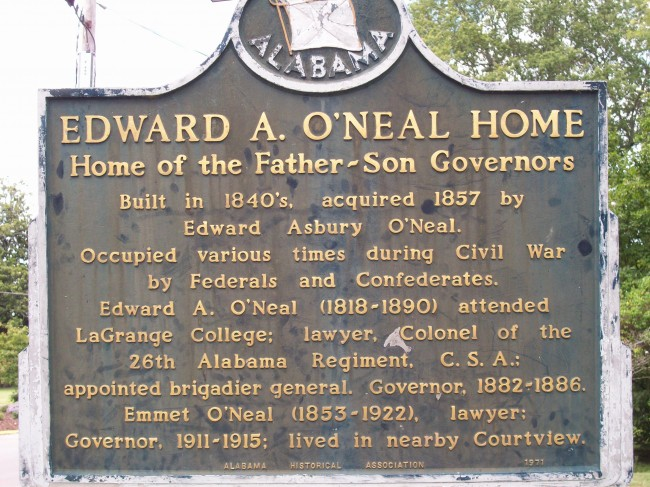 Edward A. O'Neal Home historical marker
