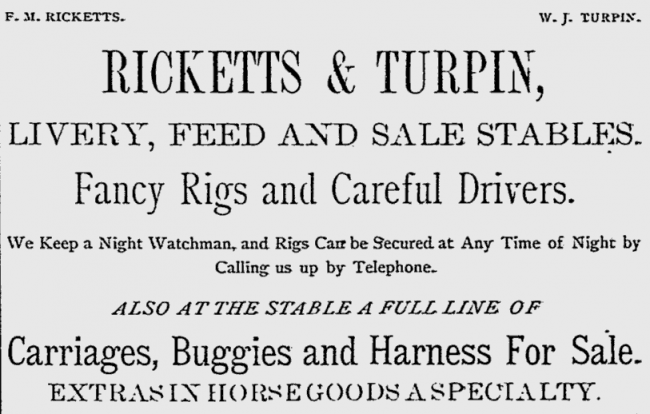 Vintage Rickets and Turpin advert