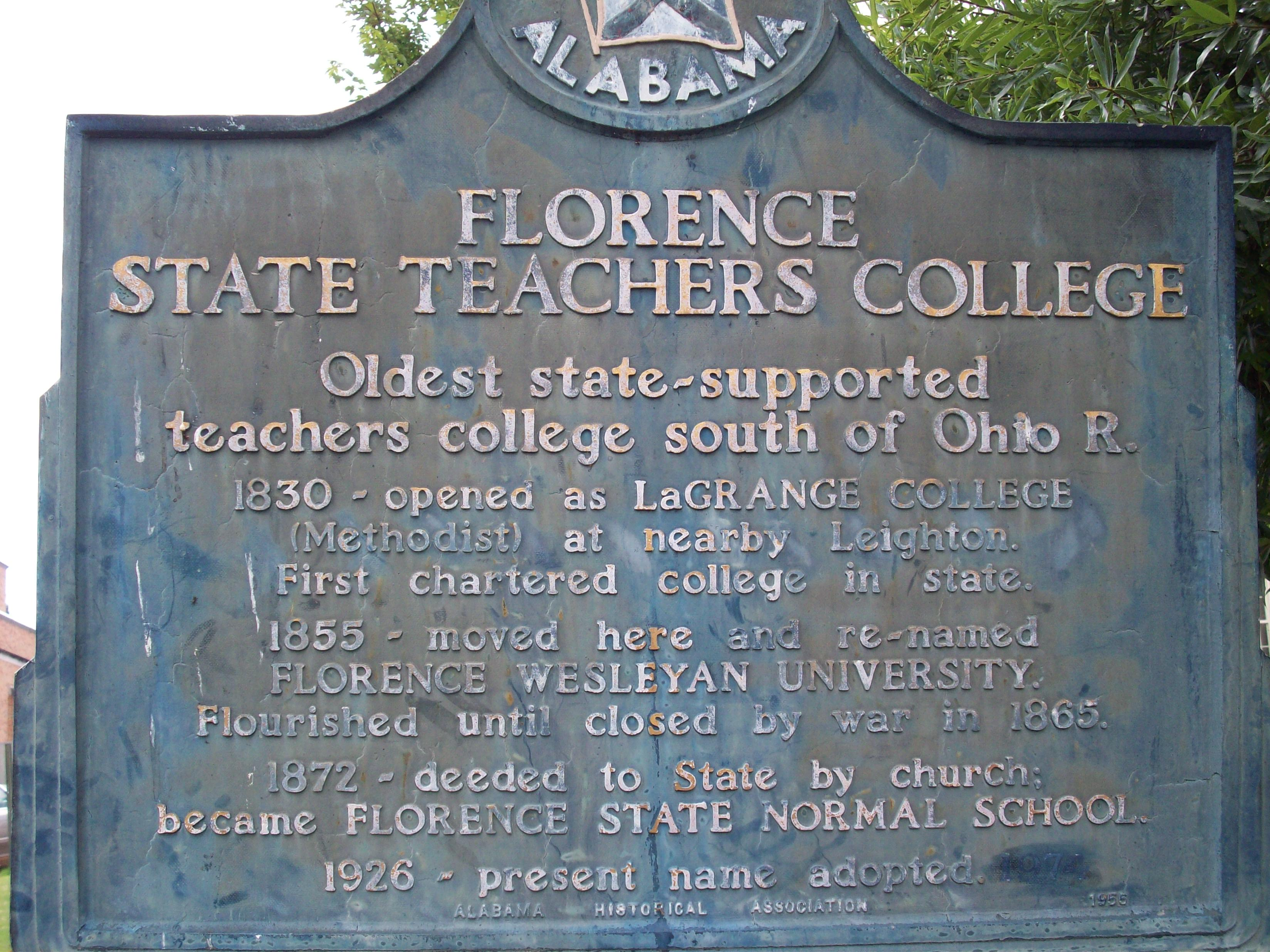 Florence State Teachers College historical marker