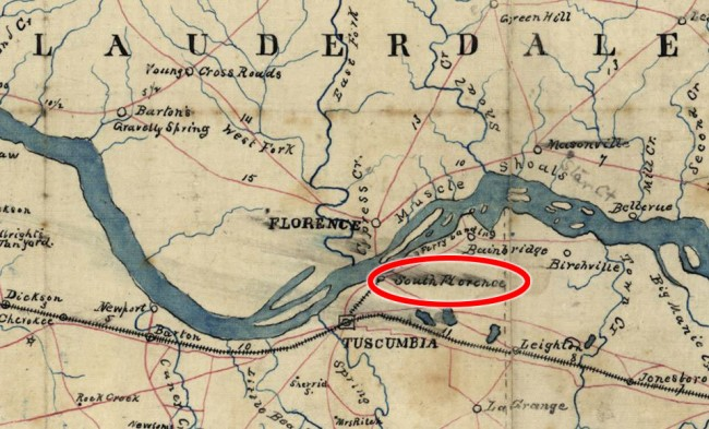 1863 map showing South Florence