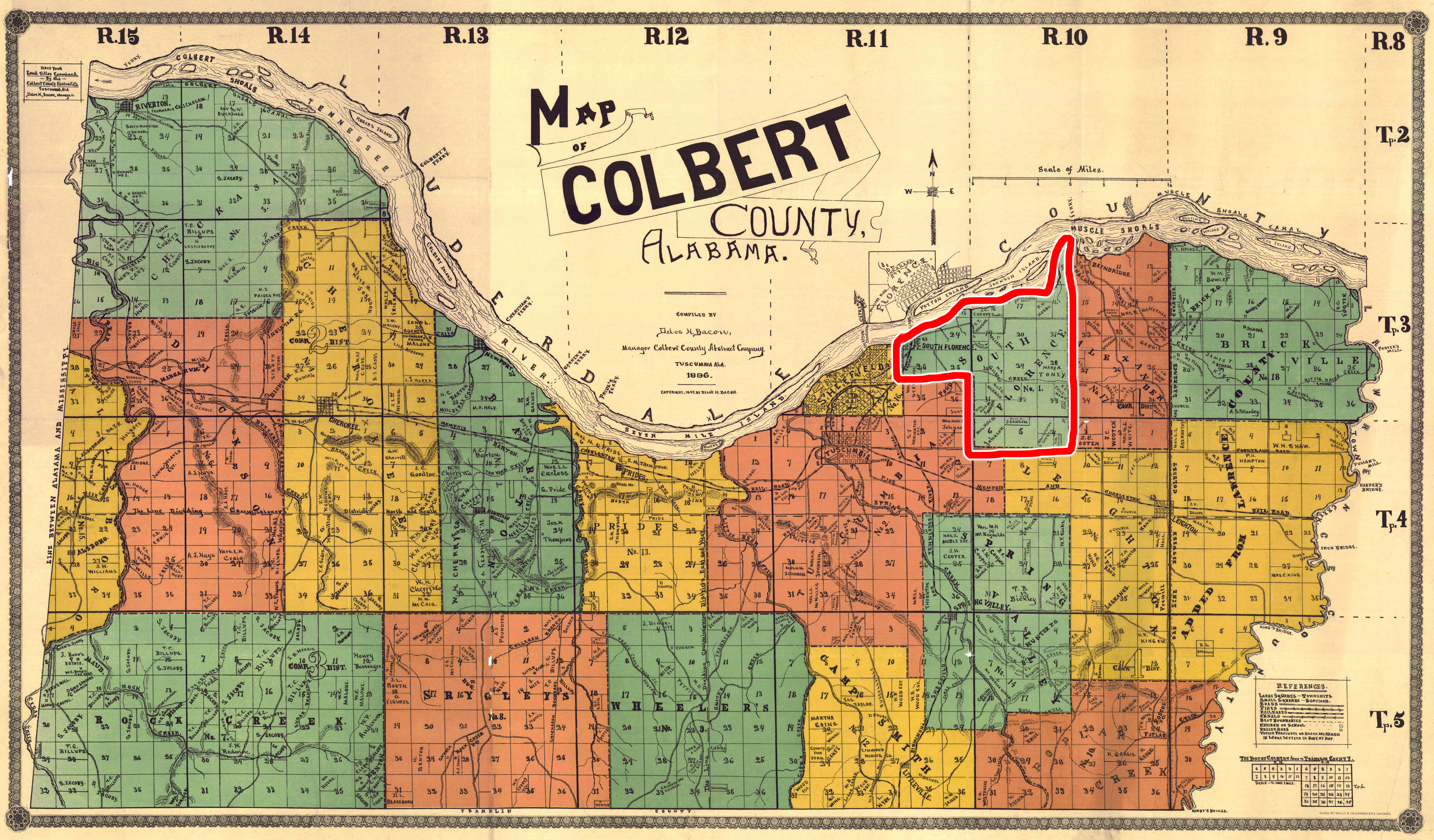 Colbert County Map Shows A South Florence Alabama - County map of alabama