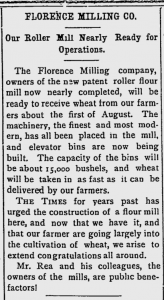 Florence Milling Company - Florence Times - july 15, 1898