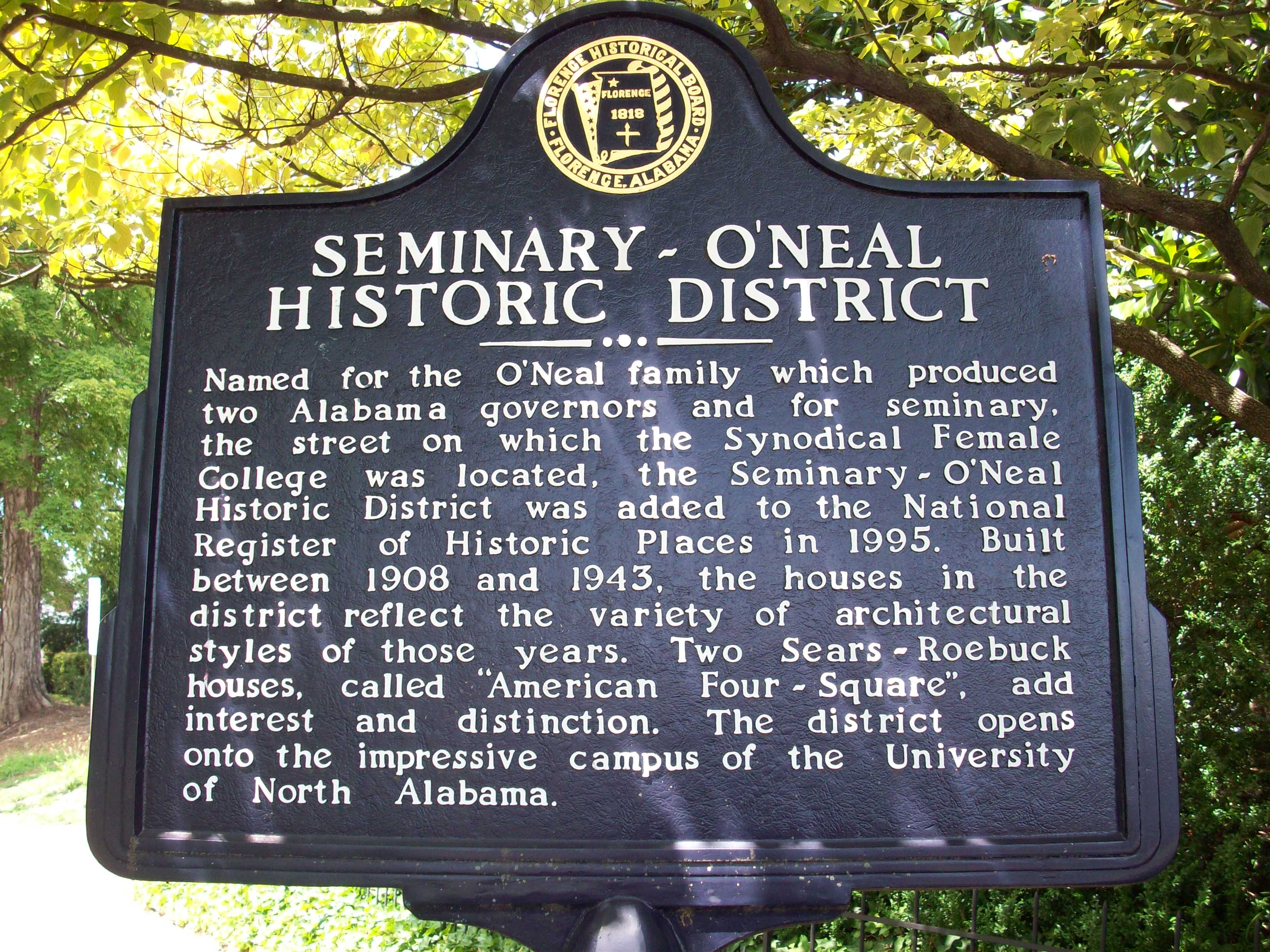 Seminary - O Neal Historic District historical Marker